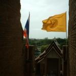 私が旗を持つ
